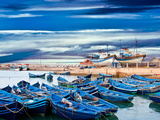 Blue Fishing Boats on an Ocean Coast in Essaouira, Morocco Photographic Print by  seqoya