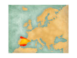 Map of Europe - Spain (Summer Style) Art by  Tindo
