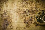 Old Map with Compass Fotografisk trykk av  meen_na