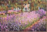 De tuin van Monet, Irissen Kunstdruk op gespannen doek van Claude Monet