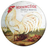 Round Rooster Dome Sign Tin Sign