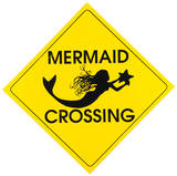 Mermaid Crossing Tin Sign
