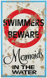 Mermaid Warning Tin Sign