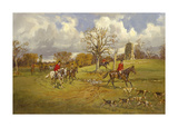 Hunting below the ruins at Knepp (Sussex) Castle Premium Giclee Print by John King