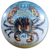 Blue Crab Café Dome Sign Tin Sign