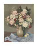 Paeonies in a Stone Vase Premium Giclee Print by Marcel Dyf