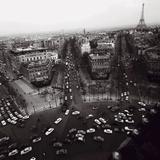 View from the Arc de Triomphe to the Place de l'Etoile, 1960s Poster von Paul Almasy