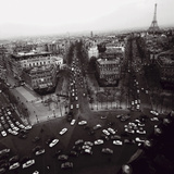 View from the Arc de Triomphe to the Place de l'Etoile, 1960s Print by Paul Almasy