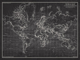 Ocean Current Map - Global Shipping Chart Wydruk giclee autor The Vintage Collection