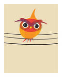 Owl on a Wire Prints by Volkan Dalyan
