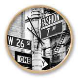 Signpost, Fashion Ave, Manhattan, New York City, United States, Black and White Photography Relógio por Philippe Hugonnard
