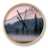 Misty Morning at Mount Hood Meadow Clock by Vincent James