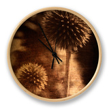 Sepia Dandelions Clock by Robert Cattan