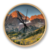 Sunrise at the Maroon-Bells in Colorado's Maroon Bells-Snowmass Wilderness Area Clock by Kyle Hammons
