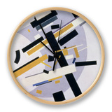 Supremus No. 58 Dynamic Composition in Yellow and Black, 1916 Clock by Kasimir Malevich