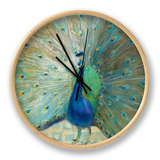 Blue Peacock on Gold Clock by Danhui Nai