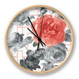 Geometric Watercolor Floral I Clock by Danhui Nai