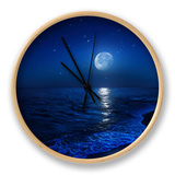 Tranquil Ocean at Night Against Starry Sky and Moon Ur