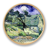 Thatched Cottages at Cordeville, Auvers-Sur-Oise, c.1890 Clock by Vincent van Gogh