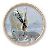Polar Bear (Ursus Maritimus) and Cubs Klokke av David Jenkins