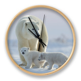 Polar Bear (Ursus Maritimus) and Cubs Clock by David Jenkins