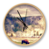Bison in the Mist Clock by Vincent James