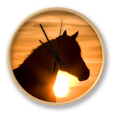 Silhouette of Wild Horse Mustang Pinto Mare at Sunrise, Mccullough Peaks, Wyoming, USA Clock by Carol Walker