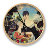 The Merchant's Wife at Tea, 1918 Clock by Boris Kustodiyev