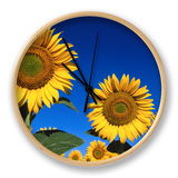 Detail of Sunflowers, Tuscany, Italy Clock by John Elk III