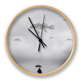 A Man with an Umbrella Clock by Tatiana Koshutina