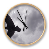 Raven (Corvus Corax) in Flight, Silhouetted, the Burren, County Clare, Ireland, June 2009 Horloge par  Hermansen