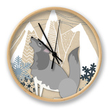 Winter Wolf Howling Clock by  Lantern Press