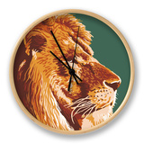 Lion Up Close Clock by  Lantern Press
