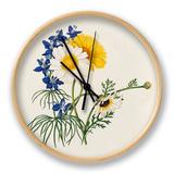 Delphinium grandiflorum, Argyranthemum frutescens Clock by Caroline Maria Applebee