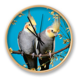 Two Cockatiels, Males (Nymphicus Hollandicus) Australia Clock by  Reinhard