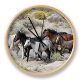 Group of Wild Horses, Cantering Across Sagebrush-Steppe, Adobe Town, Wyoming Clock by Carol Walker