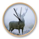Red Deer (Cervus Elaphus) Stag at Dawn During Rut in September, UK, Europe Clock by David Tipling