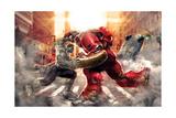 The Avengers: Age of Ultron - Hulk Fights Hulkbuster Print