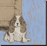 Boho Dogs V Stretched Canvas Print by Clare Ormerod