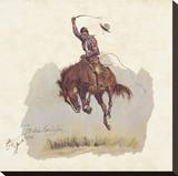 A Running Bucker Stretched Canvas Print by Frederic Sackrider Remington
