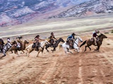 Cowboy's in Motion across the Field Photographic Print by Terry Eggers