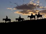 Cowboys in Silhouette with Sunset Photographic Print by Terry Eggers