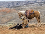 Cowgirl and Her Horse with Dog Viewing the Countryside Photographic Print by Terry Eggers