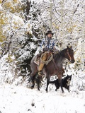 Cowboys Riding in Autumn Aspens with a Fresh Snowfall Photographic Print by Terry Eggers