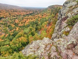 A View from Summit Peak of Lake of the Clouds Looking into the Big Carp River Valley in Autumn at P Photographic Print by Julianne Eggers