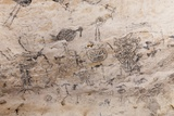 Pre-Columbian Rock Paintings inside La Linea Limestone Cave, Dominican Republic Photographic Print by Reinhard Dirscherl