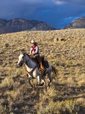 Cowgirl Riding at Full Speed in Motion Photographic Print by Terry Eggers