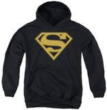Youth Hoodie: Superman - Gold & Black Shield Pullover Hoodie