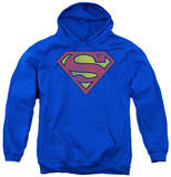 Youth Hoodie: DC Comics - Retro Superman Logo Distressed Pullover Hoodie