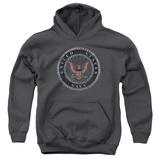 Youth Hoodie: Navy - Rough Emblem Pullover Hoodie